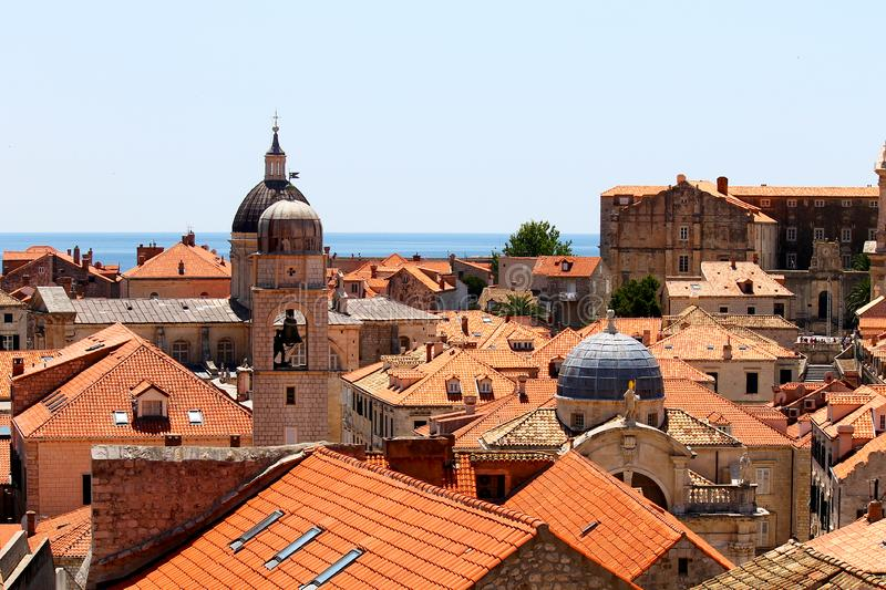 Old town of Dubrovnik near the sea, church towers stock photos