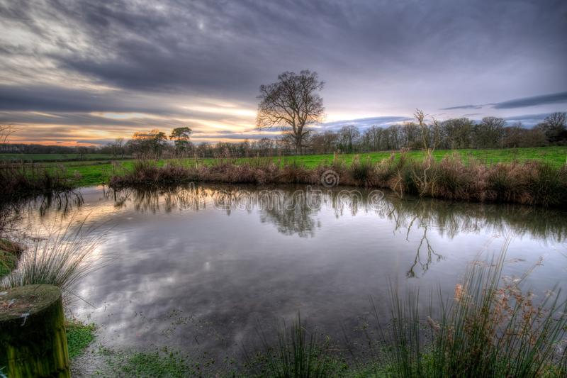 Wintery sunset reflected in a water filled pond.. royalty free stock photos