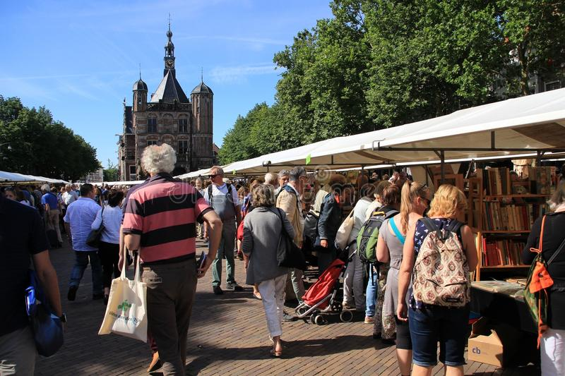 View over the famous book market in the city Deventer is the summer. royalty free stock photos