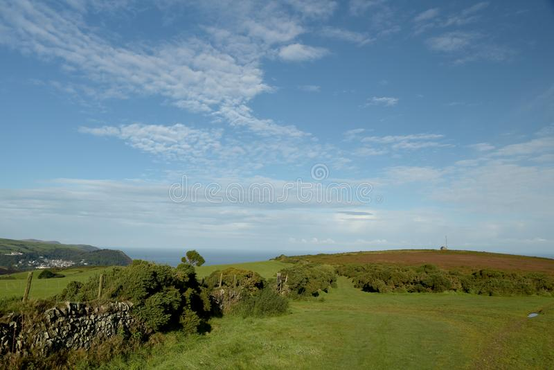 View over Countisbury, Exmoor, North Devon. View over fields and hedges on Countisbury above Bristol Channel, Exmoor, North Devon royalty free stock photography
