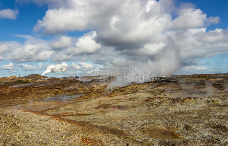 View over geothermal area royalty free stock photo