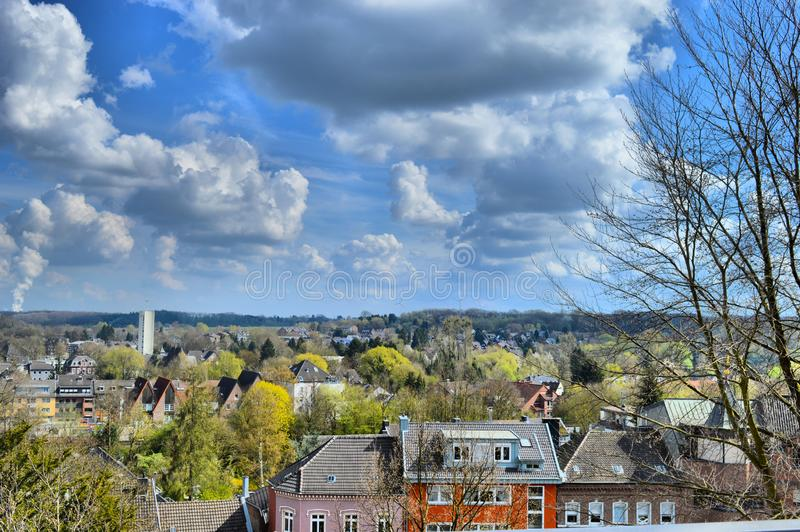 View over German village Herzogenrath. It`s so close to the Netherlands that we walked to it stock photography