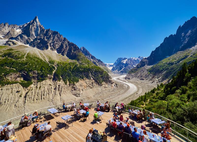 CHAMONIX, FRANCE - AUGUST 8, 2017: View over glacier Mer de Glace from terrace, Chamonix France stock photography