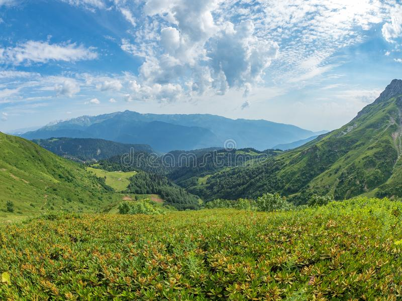 View over the Green Valley, surrounded by high mountains on a clear summer day. Krasnaya Polyana, Sochi, Caucasus, Russia stock photos