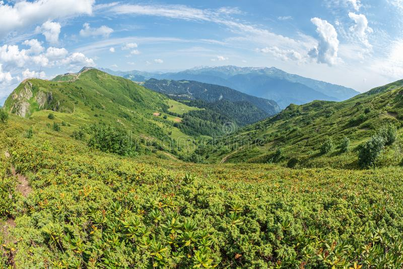 View over the Green Valley, surrounded by high mountains on a clear summer day. Krasnaya Polyana, Sochi, Caucasus, Russia stock image