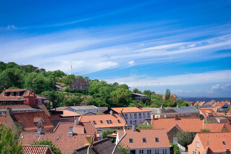 View over Gudhjem royalty free stock image
