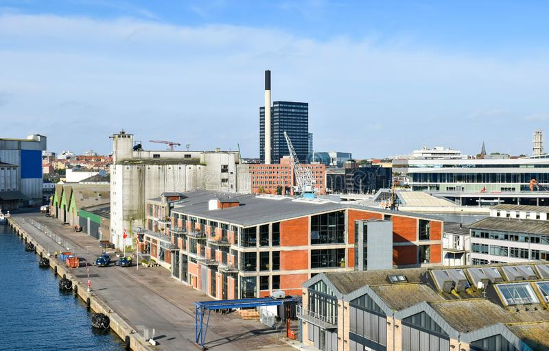 View over the harbor of Aarhus in Denmark royalty free stock image