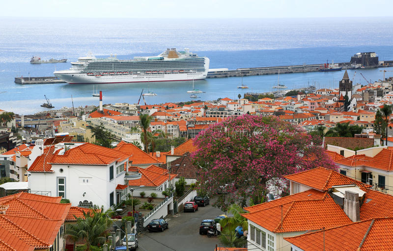 View over harbor of Funchal - Madeira stock image