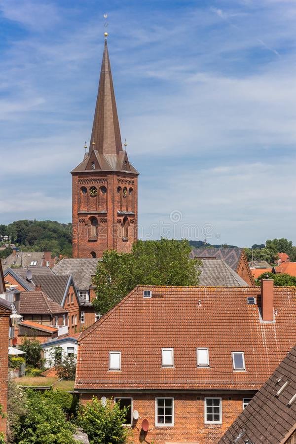 View over historic city and church tower in Plon. Germany stock photo