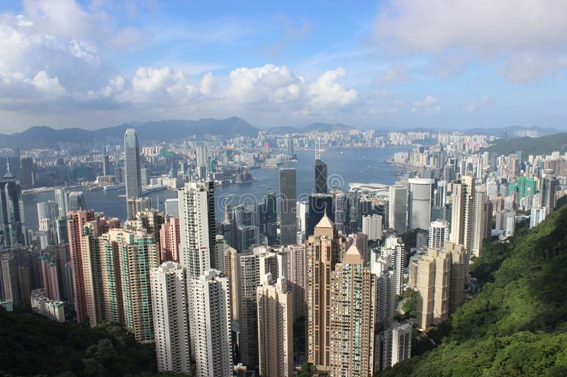 View over Hong Kong from the Peak stock photo