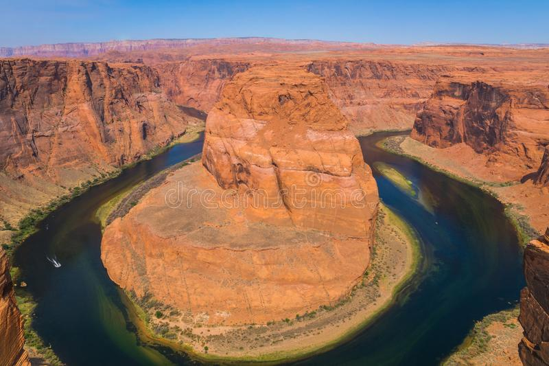 Scenic panorama Horseshoe bend near the Grand Canyon in the desert, red rock sandstone formations, USA royalty free stock photo