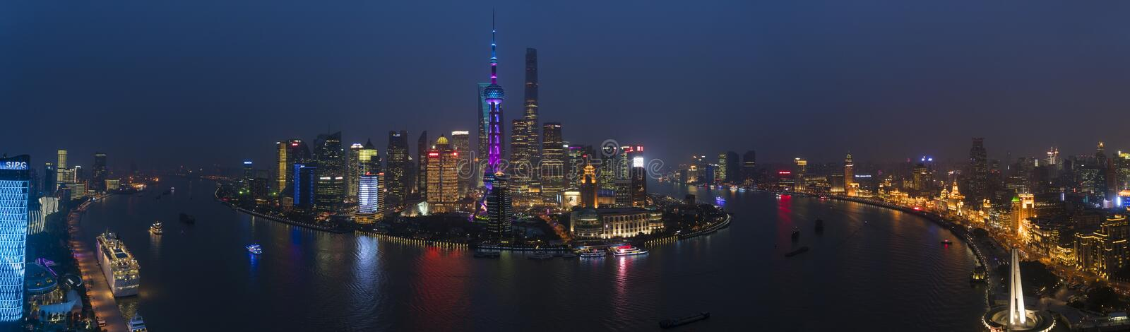 View over Huangpu River and Pudong skyline at night, Shanghai stock photo