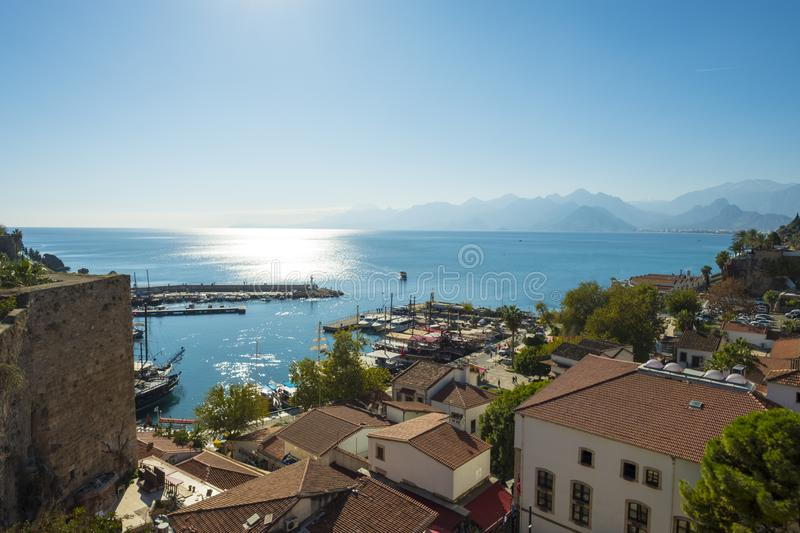 Old Town View Across Bay Mountains Antalya H royalty free stock photography