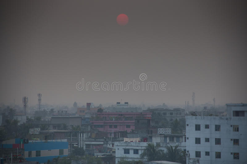 View over Khulna in Bangladesh. View over the center of Khulna, Bangladesh stock photo