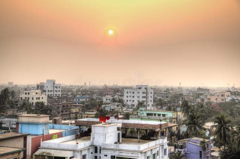 View over Khulna in Bangladesh. View over the center of Khulna, Bangladesh stock image