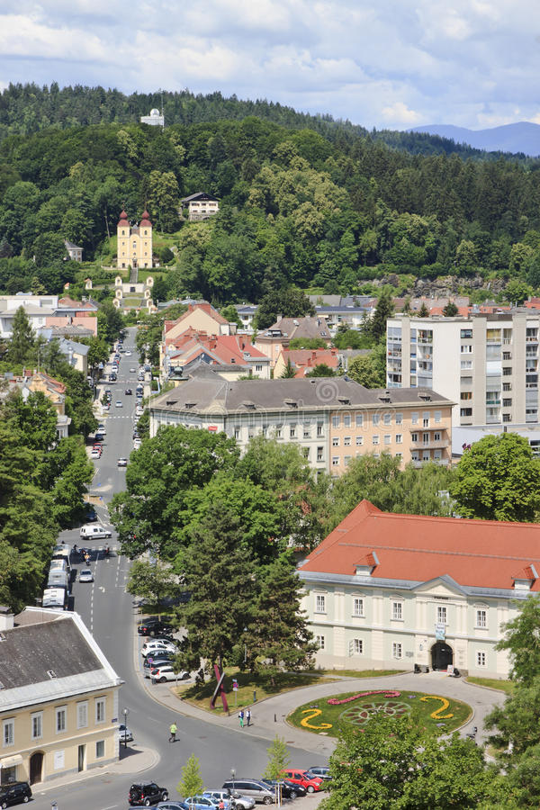 View over Klagenfurt from St Egyd Church royalty free stock photo