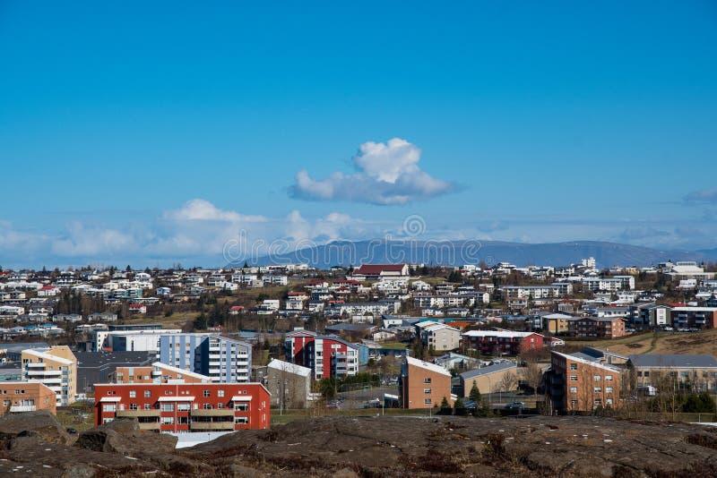 View over Kopavogur in Reykjavik Iceland. View over Kopavogur which is part of city of Reykjavik in Iceland royalty free stock image