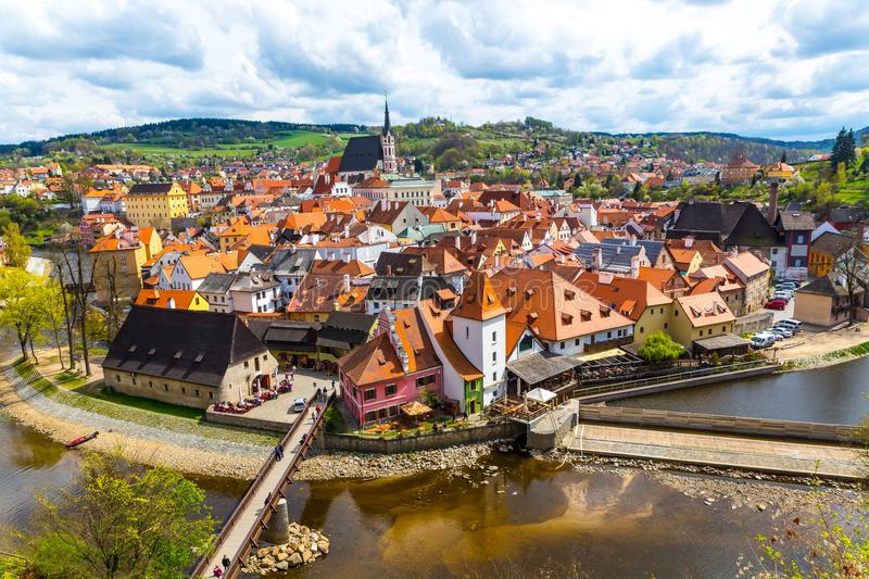 View over Krumlov in Bohemia with lake Vlatva. View over Cesky Krumlov with lake Vltava in Bohemia, Czech Republic, Europe stock photography