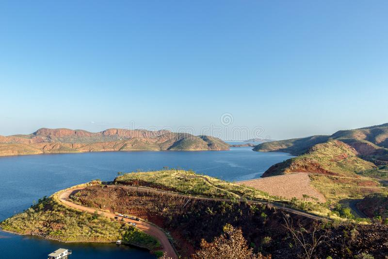 view over Lake Argyle is Western Australia& x27;s largest man-made reservoir by volume. near the East Kimberley town of Ku royalty free stock image