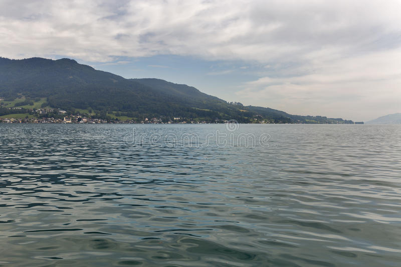 View over lake Attersee in Austrian Alps stock photography