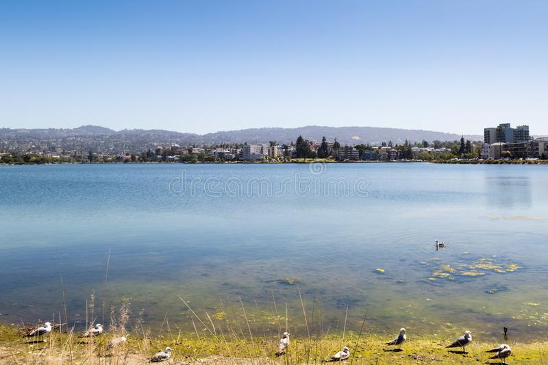 View over Lake Merritt. A scenic view over Lake Merritt in Oakland, taken on a clear sunny day stock photography