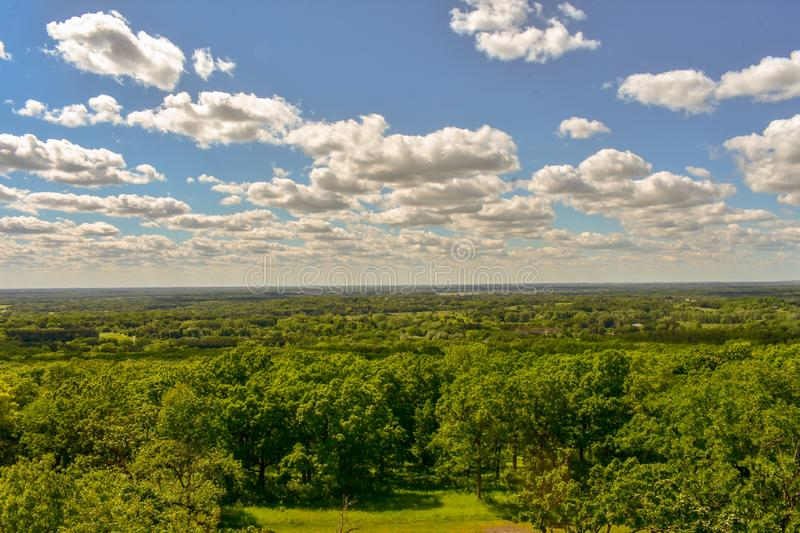 View over Lapham Peak State Park. A view from a viewing tower over the Lapham Peak State PArk in Delafield Wisconsin stock image