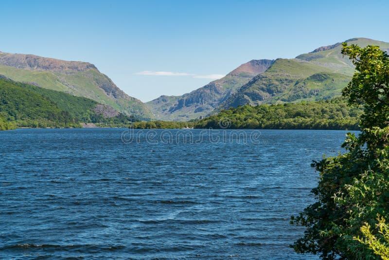 Llyn Padarn, near Llanberis, Gwynedd, Wales, UK. View over Llyn Padarn near Llanberis, seen from Brynrefail, Gwynedd, Wales, UK royalty free stock photography