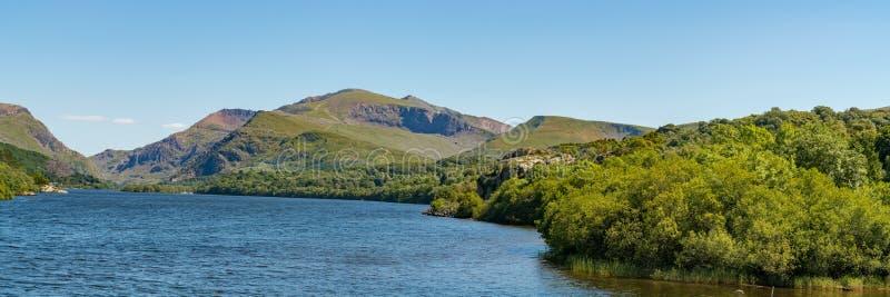 Llyn Padarn, near Llanberis, Gwynedd, Wales, UK. View over Llyn Padarn near Llanberis, seen from Brynrefail, Gwynedd, Wales, UK royalty free stock image