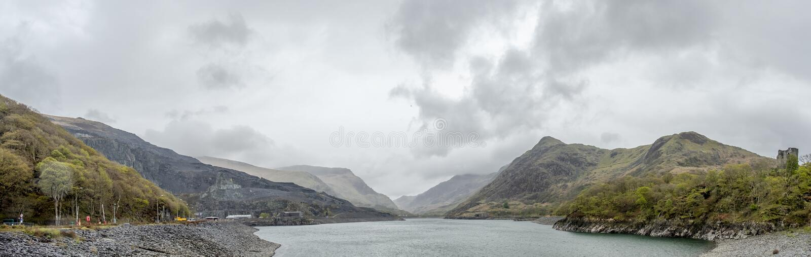 View over Llyn Peris to Snowdonia from Llanberis - Wales royalty free stock image