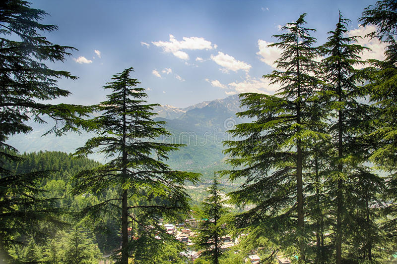 View over the lower section of Himalayan mountains in India, Kullu valley, Himachal Pradesh royalty free stock photo