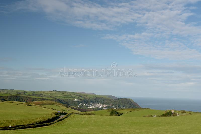 View over Lynmouth from Countisbury, Exmoor, North Devon. View over Lynmouth from Countisbury, above Bristol Channel, Exmoor, North Devon stock images