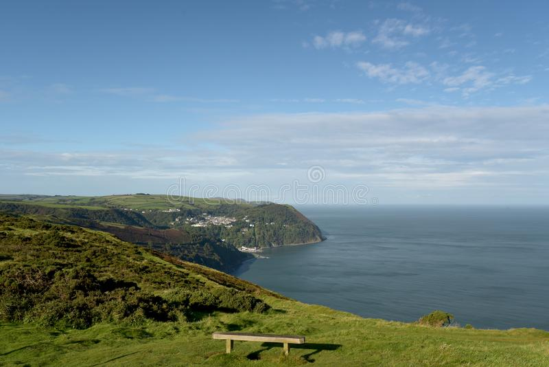 View over Lynmouth from Countisbury, Exmoor, North Devon. View over Lynmouth from Countisbury, above Bristol Channel, Exmoor, North Devon royalty free stock photo