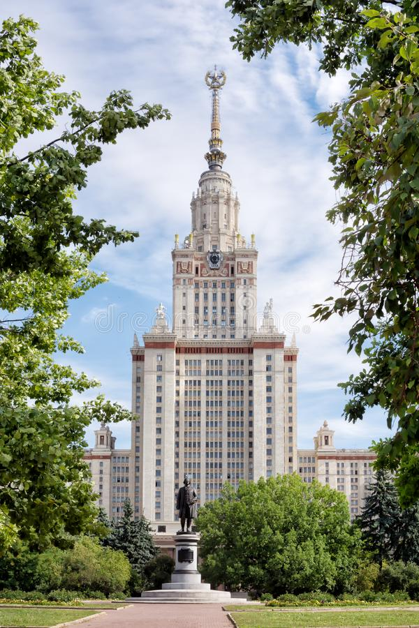 View over the main building of the Moscow State University with the monument to Mikhail Lomonosov, the founder of the University. Moscow, Russia - August 20 royalty free stock images