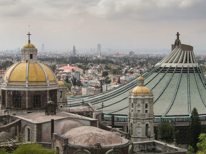 View over Mexico City. View from the hill Tepeyac to the old and new basilicas and Mexico City royalty free stock photography