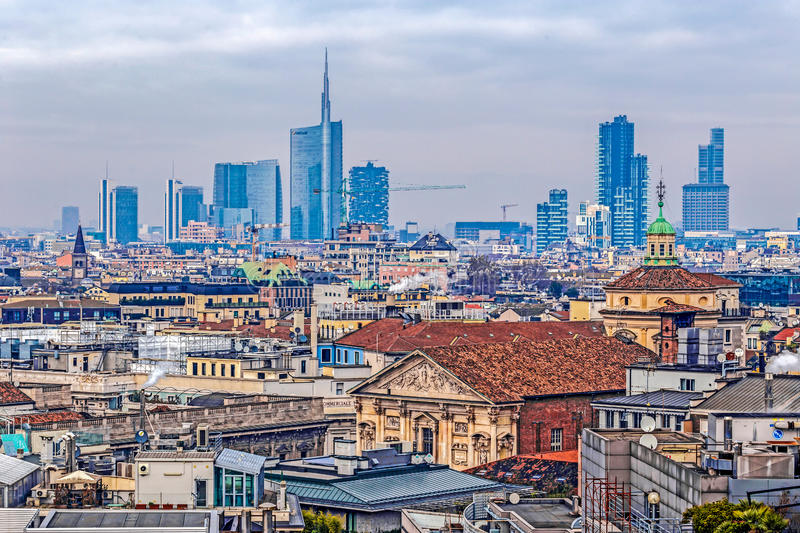 View over Milan from the gothic cathedral Duomo di Milano, Italy stock image
