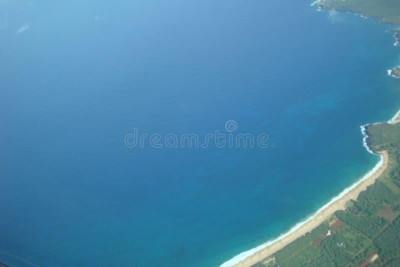 View over molokai. Flying over the land of Molokai, Hawaii spectacular stock photo
