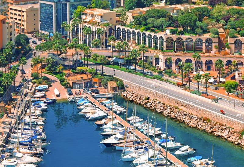 View over Monaco harbour, Cote d'Azur stock image