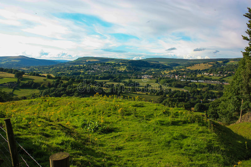 View over moorland down a valley stock image