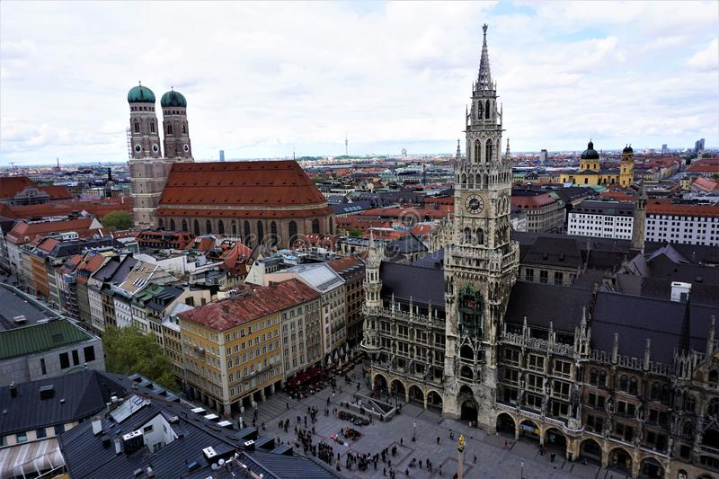 View over the most famous attractions of Munich royalty free stock image