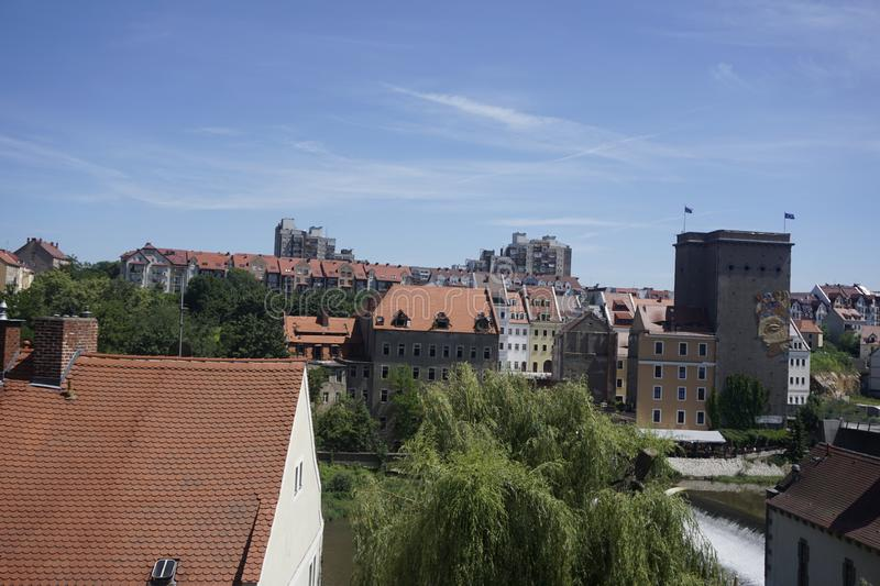 View over the Neisse river from Goerlitz to Zgorzelec. View over the Neisse river from Goerlitz, Germany to Zgorzelec, Poland stock photography