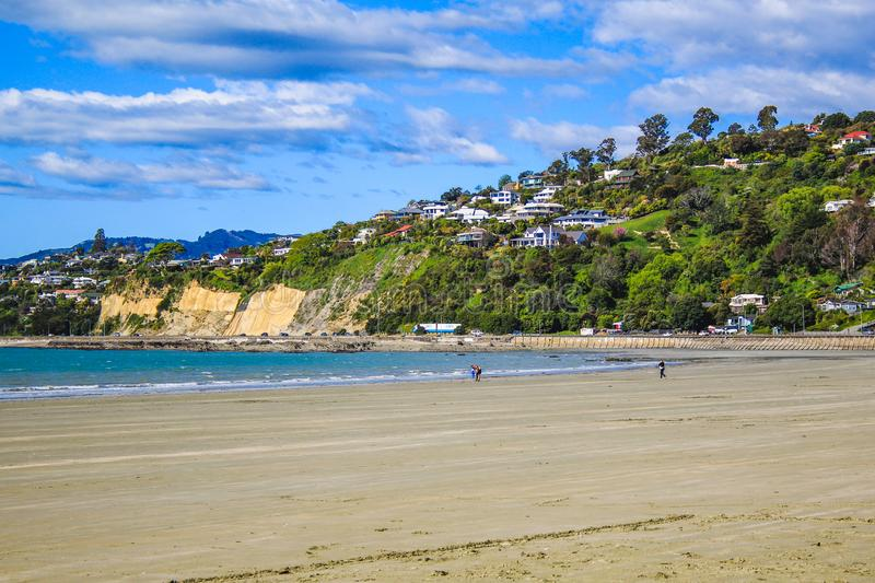 View over Nelson and the beach, South Island, New Zealand.  stock photography