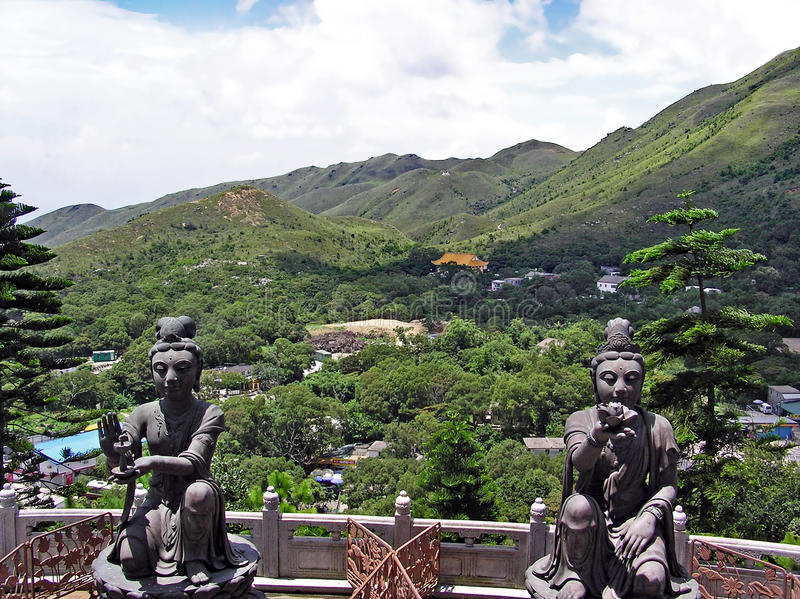View over the Ngong Ping Plateau on the island of Lantau in Hong Kong stock photos
