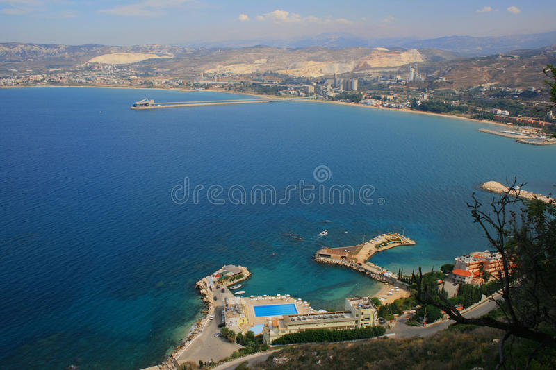 View over North Lebanon, Tripoli. From Saydet el Nourieh Monastery. Our Lady of Nourieh, Saydet el Nourieh in Arabic, is a Marian shrine in Hamat, Lebanon stock photo
