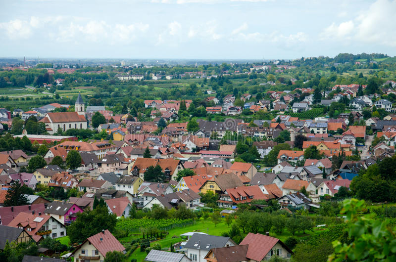 View over Offenburg, Germany. View over beautiful house neighbourhood from Offenburg, Germany stock photos