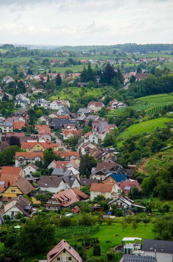 View over Offenburg, Germany. View over beautiful house neighbourhood from Offenburg, Germany stock image