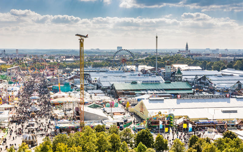 View over the Oktoberfest in Munich stock images