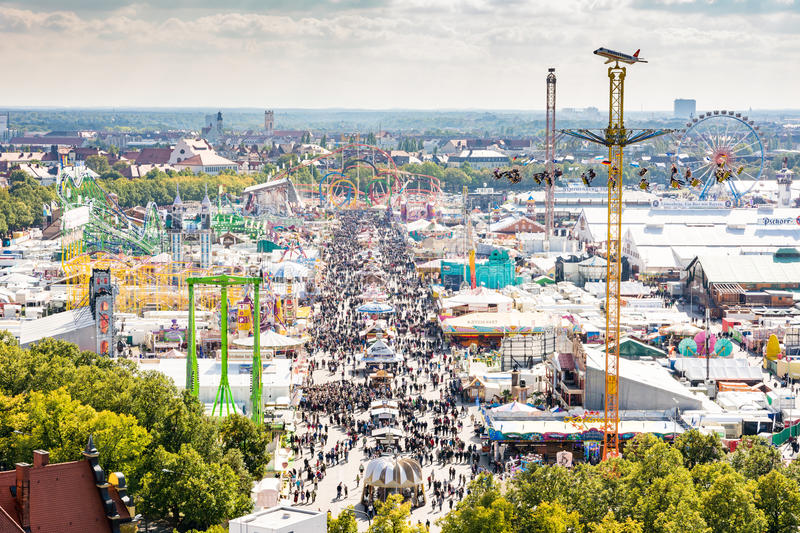 View over the Oktoberfest in Munich. MUNICH, GERMANY - SEPTEMBER 30: View over the Oktoberfest in Munich, Germany on September 30, 2015. The Oktoberfest is the royalty free stock photography