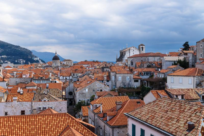 View over the old city Dubrovnik with cathedral and churches with mountains, Croatia stock photography