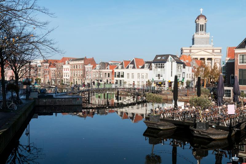 A view over the old city Leiden in the Netherlands. stock photography