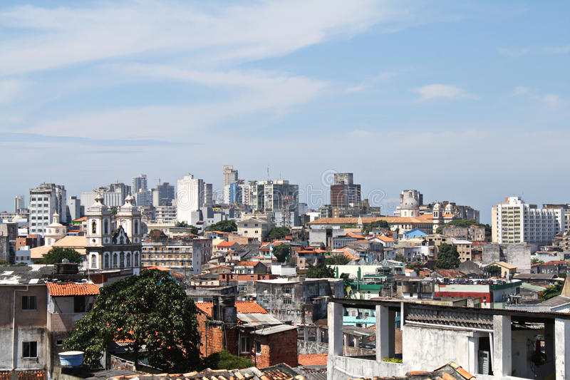 View over old houses in salvador bahia, brazil. View over old houses in poor city, salvador bahia, brazil royalty free stock photo